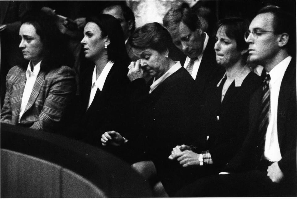 In court on May 26, 1994, are, from right, Arthur S. Demoulas, Fotene Demoulas, Evanthea Demoulas, Diana Demoulas Merriam, and Rafaele Demoulas Evans.